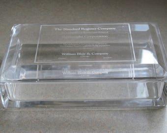 Vintage Solid Glass Box  Rectangular Trinket Box with Glass Lid, Lidded Glassl Box, Glass Treasure Blox, Keepsake  Box