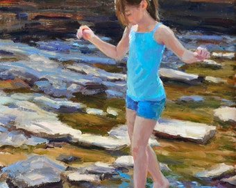 Delicate Balance - 10 x 8 Matted Print - of original painting by Scott Harding of female child figure walking on rocks over shallow stream