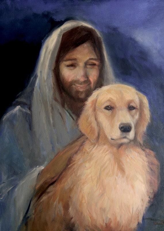 Golden Retriever With Jesus Etsy