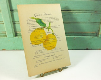 Watercolor Lemon Print on Lemon Jelly Recipe Page from Vintage Cookbook,  Mounted on Hardboard, Ready to Hang