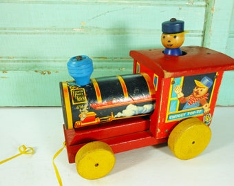 Vintage 1950s Fisher Price Chuggy Pop-Up Train Engine Pull Toy