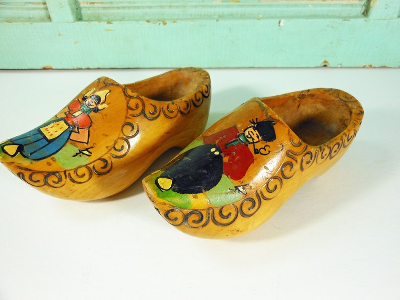 Vintage Pair of Souvenir Wooden Dutch Shoes, Made in Holland, With Hanger for Display