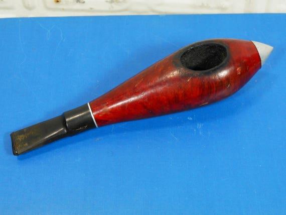 Vintage Jet Pipe Century Old Briar Estate Pipe Tobacco Pipe with Metal Tip