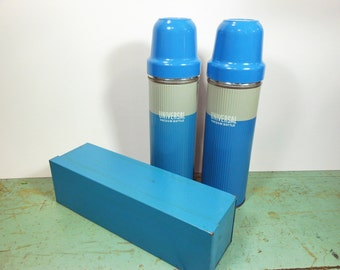 Vintage Universal Thermos Picnic Set with Two Blue Thermos Bottles with Cups and Corks and Blue Sandwich Tin