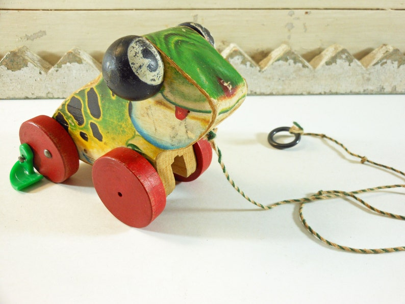 6dd0ac143ff4 Fisher Price Jolly Jumper Wooden Frog Pull Toy From 1949