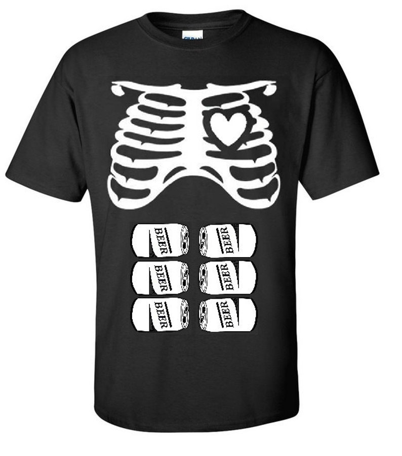 15f7828271c47 Halloween Rib Cage and Six Pack Beer Father To Be Dad T-Shirt | Etsy