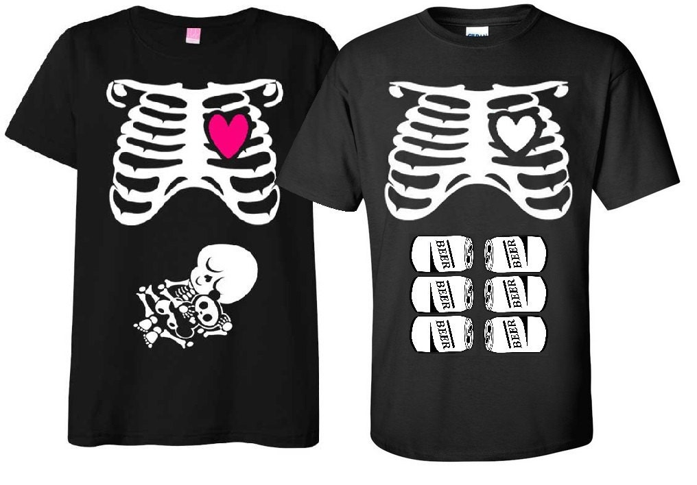 e4556e17fbb Maternity Halloween T-Shirt Costume Rib Cage and Baby Skeleton