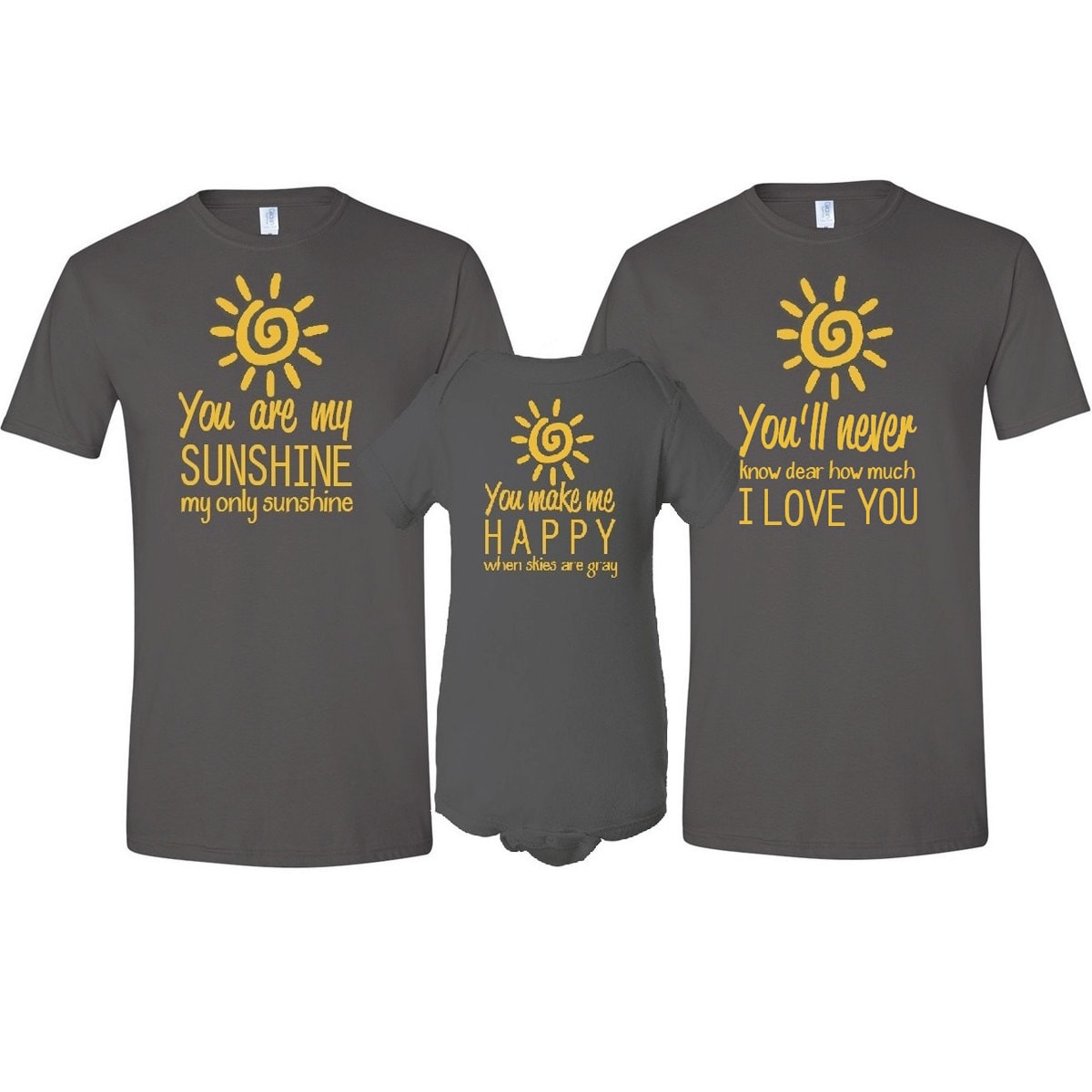 be7cd465 You Are My Sunshine Father Mother T-Shirt & Son / Daughter   Etsy