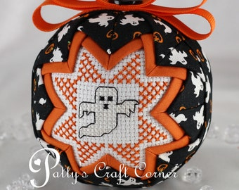 Halloween Quilted Ornament - Quilted Keepsake Ornament - Halloween - Ghost Ornament