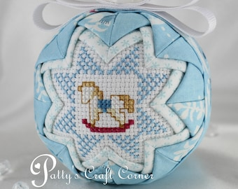 Baby's First Christmas Ornament - Baby's 1st Christmas Ornament - Quilted Ornament - Rocking Horse - Baby Ornament