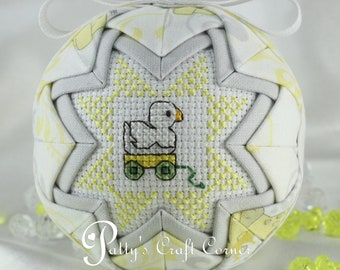 Baby's First Christmas Ornament - Quilted Ornament - Newborn Ornament - Baby Ornament