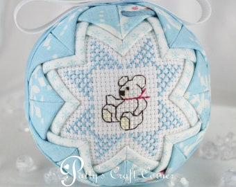Baby's First Christmas Quilted Ornament - Newborn Ornament