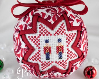 Toy Soldiers Ornament - Quilted Christmas Ornament - Quilted Ball