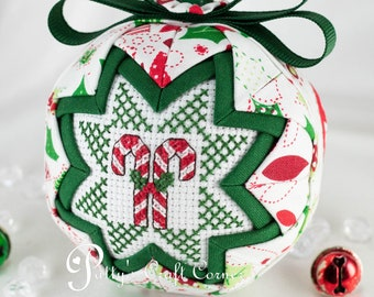 Candy Cane Ornament - Quilted Ornament - Quilted Christmas Ball