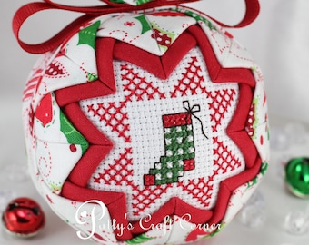 Christmas Quilted Ornament - Christmas Stocking Ornament - Merry Christmas