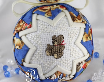 Baby's First Christmas Ornament - Quilted  Ornament - Teddy Bear Ornament - Baby Ornament