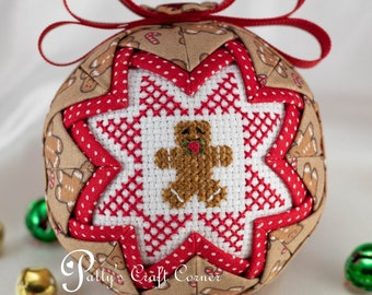 Gingerbread Man Ornament - Quilted Ball Ornament - Gingerbread House Ornament - Quilted Ornament