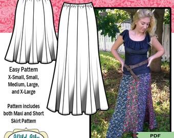28db133b6 PDF SKIRT PATTERN, easy sewing pattern, maxi skirt pattern, elastic waist  pattern, easy skirt pattern, short skirt pattern. WildLilyandLace 5 out of  ...