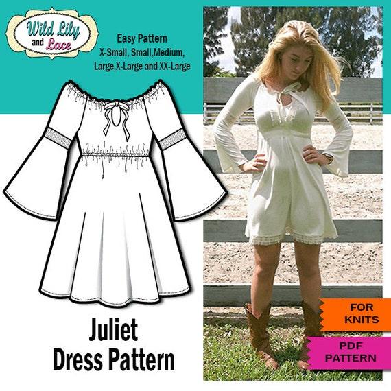 Juliet Bell Sleeve Dress PDF SEWING PATTERN Etsy Unique Bell Sleeve Dress Pattern