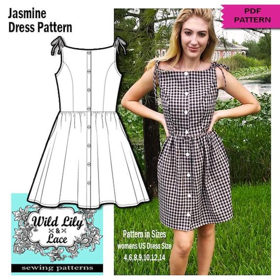 Kleid-Muster einfach nähen Knopf vorne Kleid
