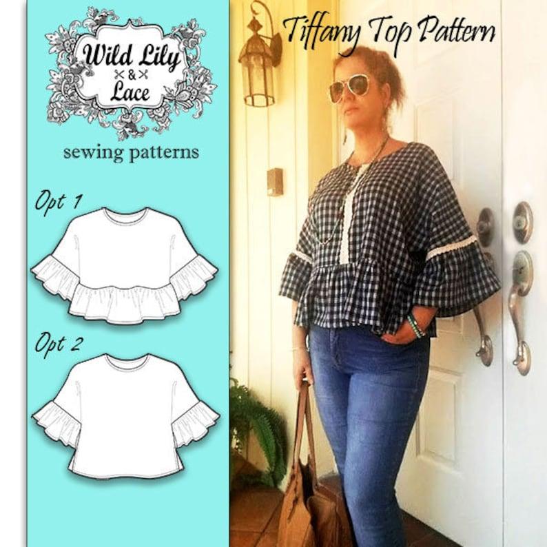 TOP SEWING PATTERN - fashion pattern, ruffle sleeve pattern, boxy top,  blouse pattern, sewing pattern- Tiffany top