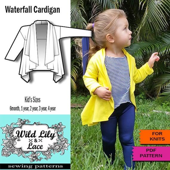 Kids Sewing Pattern For Waterfall Cardigan Kids Cardigan Etsy