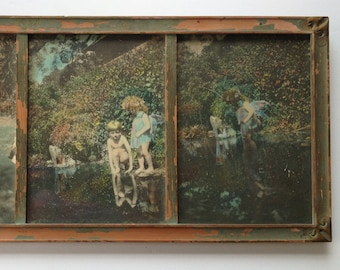 1920s Framed Tinted Photo Wall Hanging