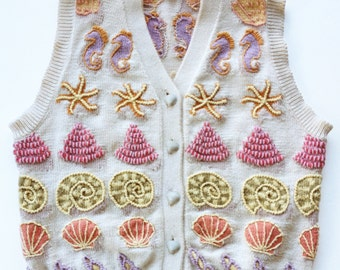 Vintage 1980s Shell Embroidered Intarsia Sweater Vest Christine Foley