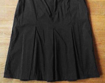1990s Black Parachute Nylon Box Pleated Skirt Minimalist