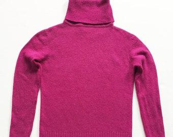 1970s Fuchsia Angora and Wool Turtleneck Sweater 160f93851