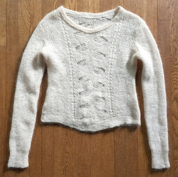 Mohair and Wool Beige Hand Knit Lacy Novelty Knit