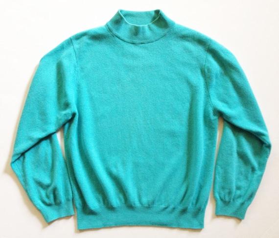 Vintage Aqua Mock Neck Cashmere Sweater