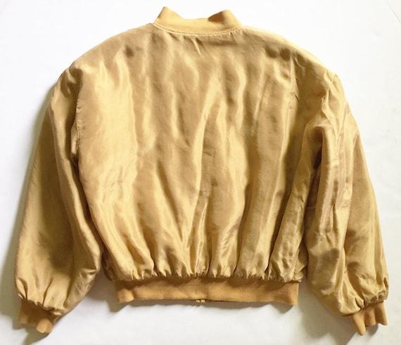 Vintage 1980s Gold Washed Silk Bomber Jacket - image 2