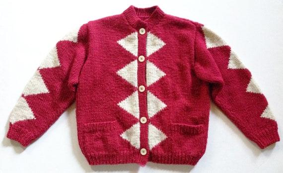 1940s Red Diamond Wool Hand Knit Cardigan - image 1