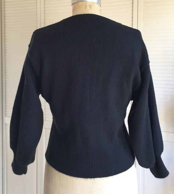 1980s Black Rib Dolman Sleeve Sweater - image 4