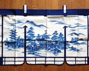 Vintage 1960s Japanese Noren Curtain Indigo Landscape New