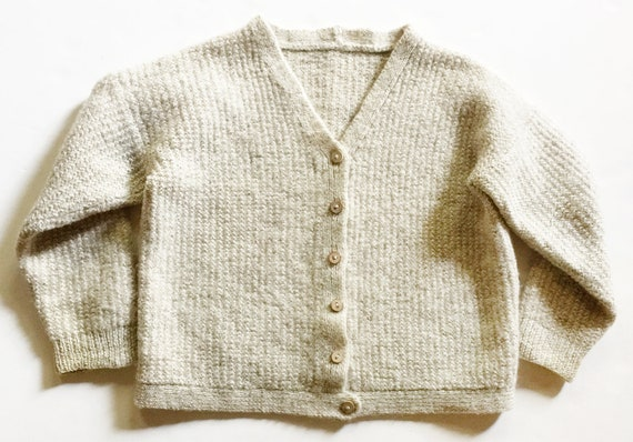 Beige Thick Wool Textured Chunky Knit Cardigan