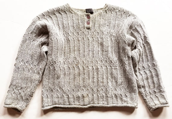 Heather Taupe Vertical Textured Chunky Knit Sweate