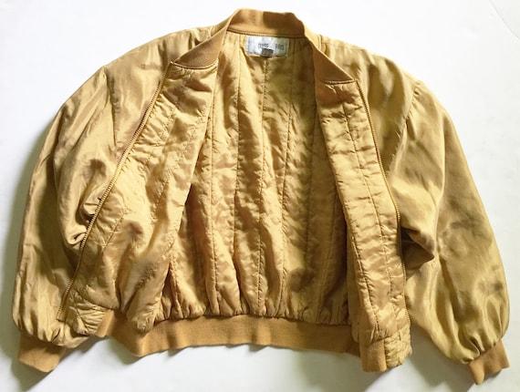 Vintage 1980s Gold Washed Silk Bomber Jacket - image 3