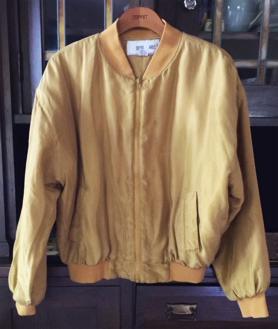 Vintage 1980s Gold Washed Silk Bomber Jacket - image 6
