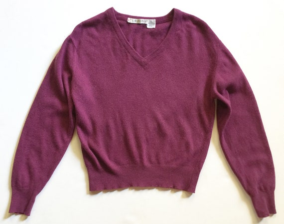 1970s Plum Scottish Cashmere Plum V Neck Sweater I
