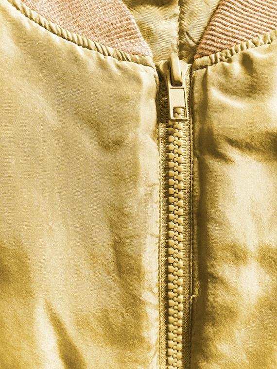 Vintage 1980s Gold Washed Silk Bomber Jacket - image 8