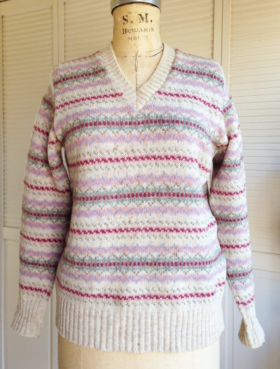Vintage Pink Striped Scottish Fair Isle Sweater