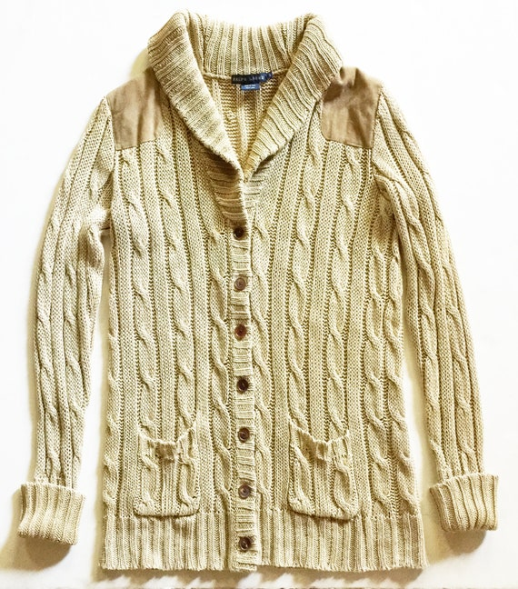 Natural Linen Cabled Long Cardigan Suede Detail