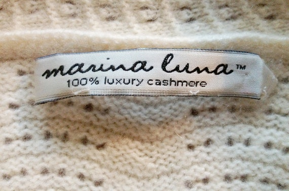 Vintage Ivory Pointelle Shawl Collar Cashmere Car… - image 8