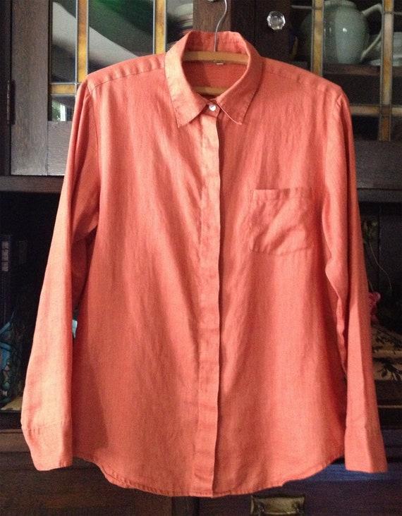 Vintage Muted Orange Linen Shirt Velvety Patina Hi