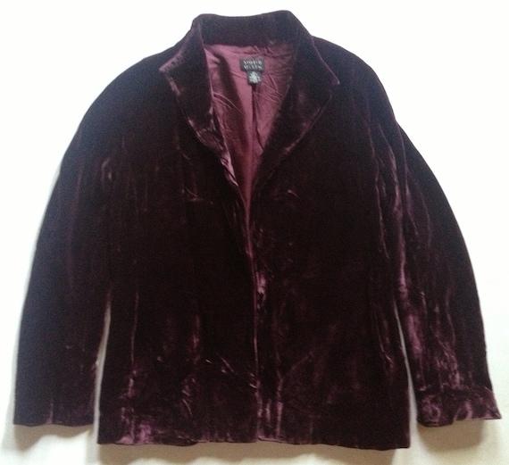 Vintage Aubergine Crushed Velvet Jacket