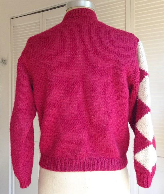 1940s Red Diamond Wool Hand Knit Cardigan - image 4