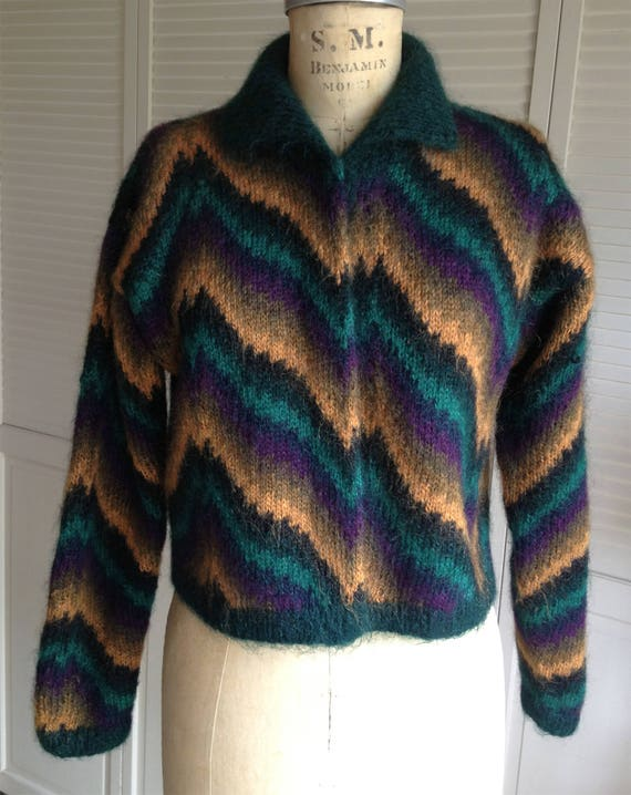 1980s Mohair Green and Gold Hand Knit Chevron Card