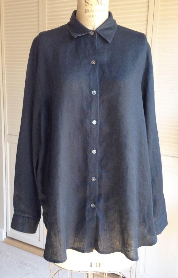 Black Fine Linen Oversized Shirt